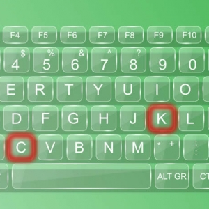 Picture of keyboard with letters K and C highlighted as hotkeys
